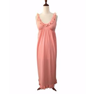 Vintage Union Made Coral Ruffle Hem Nightgown